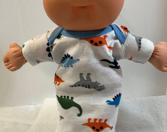 """Cabbage Patch NEWBORN BOY 12 inch Doll Clothes, Cool Colorful """"DINOSAURS"""" Nightgown, 12 inch Doll Clothes, CPKKids Newborn Doll, Boy or Girl"""