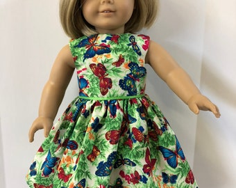 "18 inch Doll Clothes, Cool Colorful ""BUTTERFLY"" Dress, 18 inch American Doll Clothes, 18 inch Doll Dress, Pretty Fluttering Butterflies!"