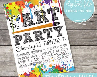 Art Party Customizable Kid's Birthday Invitation