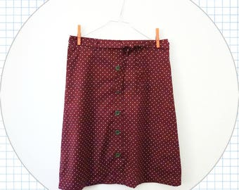 cotton skirt, button front knee length skirt with fabric belt, high waist skirt, summer skirt, burgundy skirt, polka dot skirt