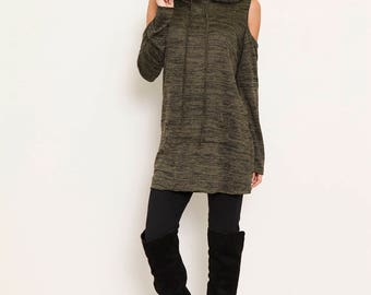 cold shoulder hooded  pocket tunic S to XL
