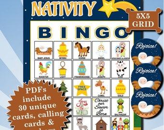 Nativity 5x5 Bingo printable PDFs contain everything you need to play Bingo.