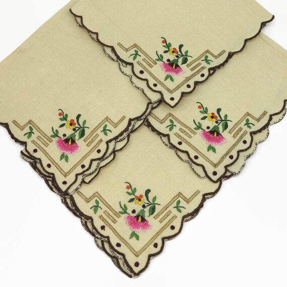4 vintage embroidered napkins, bone colored luncheon size with flowers and faggotting in one corner, circa mid 20th century, 10.5 inches