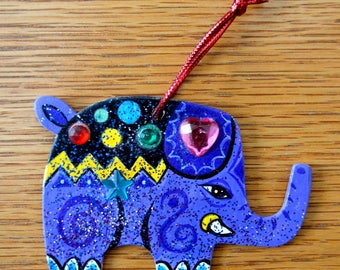 Purple Elephant Ornament - Hand Drawn and Painted - One of a Kind