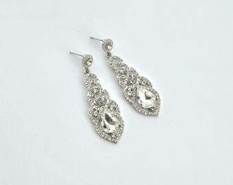 LAURA Crystal Bridal Earrings Wedding Long Bridal earrings chandeliers Bridesmaids Chandelier Great Gatsby 1920s Jewelry Crystal Earrings