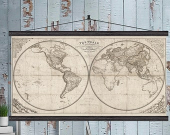 TV Cover.  Vintage World Map.  1825 World Map with Mountains and Rivers.  36x60 and 44x80 Hanging or as a Pull Down Map.