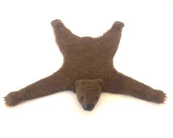 Dollhouse miniature bear rug - Brown bear- Open mouth