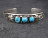 Vintage Navajo Sterling Turquoise Feather Cuff Bracelet 6.25 Inches