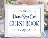 Guest Book Sign, Navy Blue Lettering, Printable Wedding Sign (#GT11N)