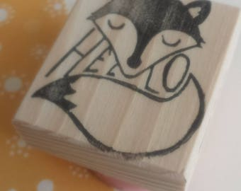 Fox stamp Hello