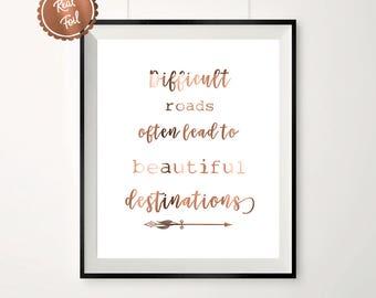 Copper print // Copper poster // wall art // inspirational // copper quote // destination // office art // home decor // copper quotes