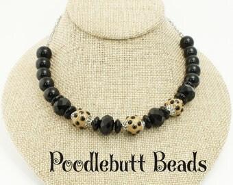 Choker Necklace Black Crystal Beads
