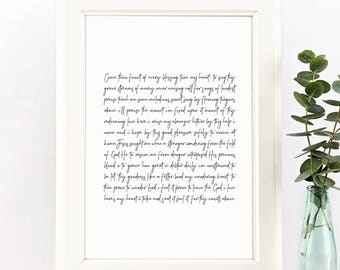 Come Thou Fount of Every Blessing Digital Art Printable 8x10 and 11x14 JPGs | Black & White | Christian Hymn Home Decor Art Instant Download