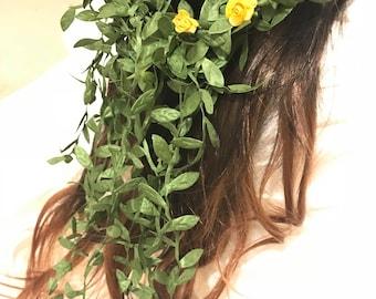 Lightweight Head Crown--Boho Weddings--Crowns for New Moms--Bridal Hair Pieces--Hair Art--Florals for Hair---Hair Wreath--Boho Bride-Halo