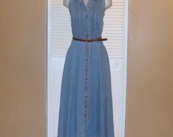 Vintage Long Blue Sleeveless Belted Denim Maxi Dress~M~