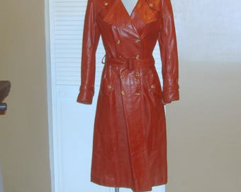 Vintage Rust Brown Genuine Leather Belted Spy Girl Trench Coat~S~