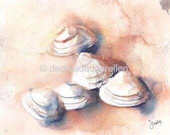 Shells on the beach. Original watercolour.
