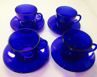 Vintage Cobalt Blue Cups and Saucers 4 Sets Blue Glassware