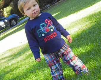 Boy's Christmas Outfit with Christmas Candy Cane Truck Shirt and Plaid Christmas Pants - M6