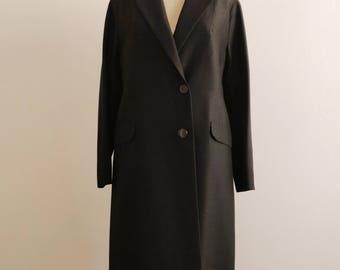 60s black silk-wool coat