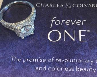Forever One Moissanite Halo Engagement Ring 1.50ct Round Moissanite Split Shank .96ct Natural Diamonds Unique Halo White Gold Ring