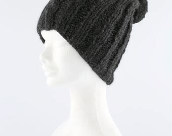 Ready to ship Hand made knitted hat with pompon, alpaca hat, cozy wool hat, knitwear.