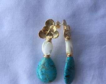Gold Finding + Mother of Pearl + Turquoise Earrings