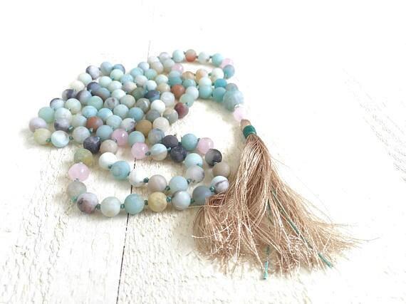 Mala Beads To Balance The Emotions, Mala Beads 108, Amazonite Mala, Rose Quartz Mala Necklace, Mala Beads For Meditation, Long Tassel Mala