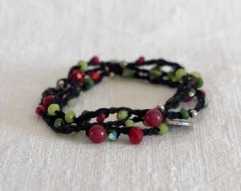 Gioiello con perline, braccialetto multi-filo, Gioiello Boho, Bracciale tre giri, Bracciale-collana-cavigliera