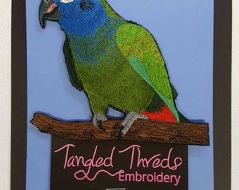 """Blue-Headed Pionus, Blue-Headed Parrot Embroidered Patch 4.5"""" x 4.6"""""""