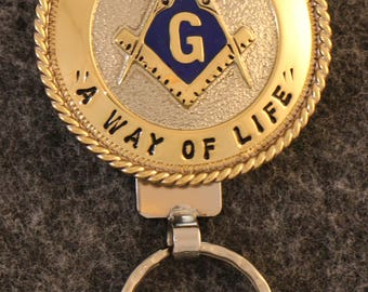 "IN STOCK UNLESS Personalized Custom handcrafted Masonic key chain.  Free Masonry across Top, A Way Of Life"" across Bottom"