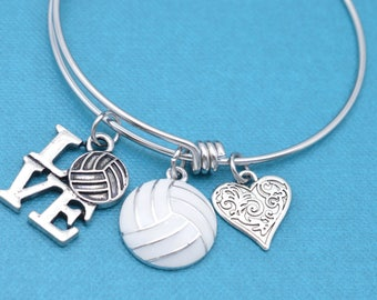 Volleyball bangle bracelet in stainless steel.  Volleyball gifts.  Volleyball bracelet.  Volleyball charm. Volleyball mom.  Volleyball.