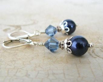 Denim Blue Pearl Earrings, Swarovski Crystals and Pearls, Vintage Style Dangles, Blue Wedding Jewelry, Bridesmaid Earrings