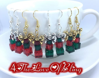 Christmas Earrings Gift Boxes Presents Made with Swarovski Crystal Cubes and Silver or Gold Bows Nickel Free Silver or Gold Plated