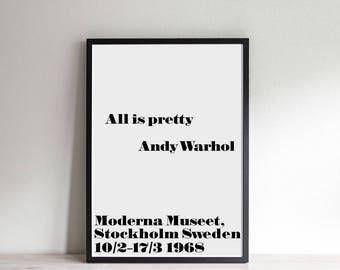 "Andy Warhol ""All is pretty"" Print Wall Art-Digital Files-INSTANT DOWNLOAD"
