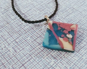 Fused Glass Pendant with Reactive Glass