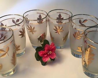 """Set of six vintage large Libbey """"Golden Foliage"""" leaf frosted tumbler glasses"""