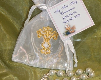 Italian Pouch with Decade rosary, Bomboniere, Italian favors,  Favours, Communion Favors, Rosary Favors, Baby Baptism Favors, mini rosaries