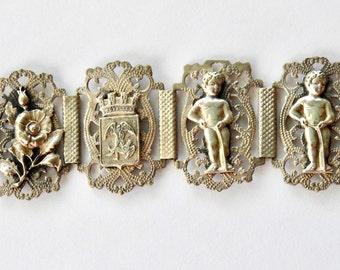 Antique Silver Souvenir of Belgium Bracelet
