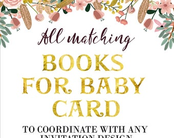 Books For Baby Card  - Matching Books For Baby Card  - Printable - Digital File