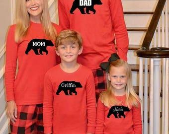 Family Christmas Pajamas, Bear Monogram, Buffalo Plaid, Buffalo Plaid Christmas Pajamas, Buffalo Check Pajamas, Kids Christmas Pajamas