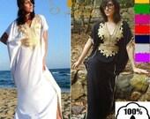 40 OFF Summer SALE Kaftan Dress Caftan Maxi Dress Bohemian Long Resort Beach Bridesmaid Robe Gift Arabian Dubai Abaya Farasha Cotton One si