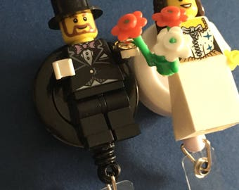 Blond Brunette Bride & Groom Lego© Wedding ID Holder Customized with Brick® Minifigure ~ Badge Reel ~ Belt Clip ~ Alligator Clip~  Keychain