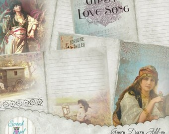 "Add-On, Gypsy Junk Journal, Digital Journal Pages, DIY Journal Kit, Paper Craft Supplies, 5.5"" x 8.5"" Journal Pages  - 'Gypsy Keepsakes #2'"