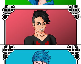 Youtube tarot prints (Markiplier, Crankgameplays, Jacksepticeye)