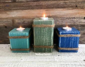 Nautical candle holder, Nautical home decor, Tea light candle holder, Wooden candle holder, Wood tea light holder, Candle pillar set