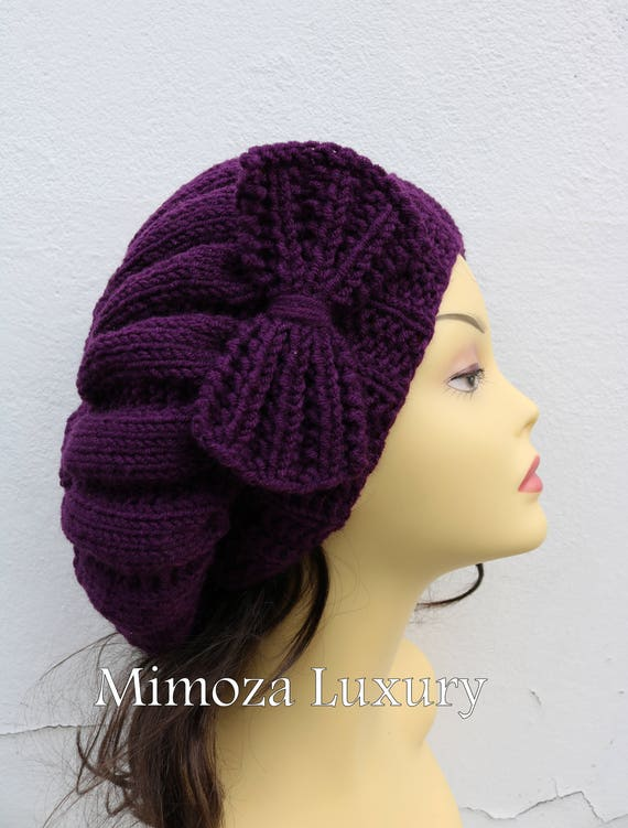 Eggplant Woman Hand Knitted Hat with Bow, Beret hat with bow, Plum Purple knit hat, purple slouchy knit women's hat with bow, aubergine hat