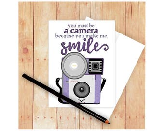You Make Me Smile Card, Funny, Love, Good Job, Happy, Blank Inside Note, Thank You, Appreciation, Brownie Vintage Camera, Purple, Art