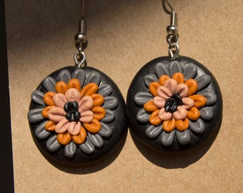 Polymer clay earrings, barroque earrings, gothic earrings, dark complements, orange earrings, elegant, floral earrings