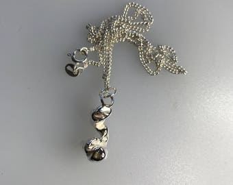 Silver Freeform Pendant with Sterling Silver Curb Chain